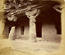 General view from the right of porch and entrance to Buddhist Vihara, Cave XX, Ajanta